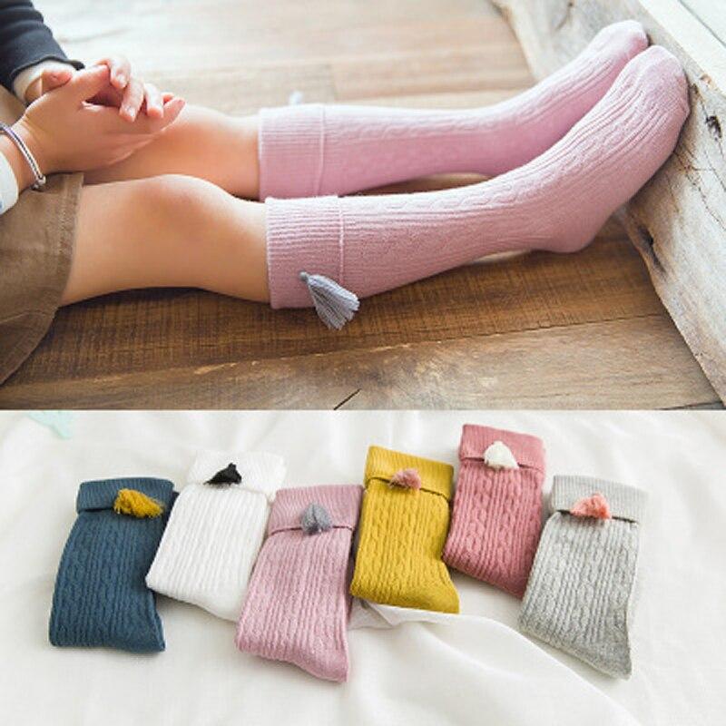 ¡Novedad de Primavera Verano! Calcetines de algodón hasta la rodilla para niñas pequeñas, calcetines cortos de Color caramelo sólidos con doble aguja para niños, calcetines para niños