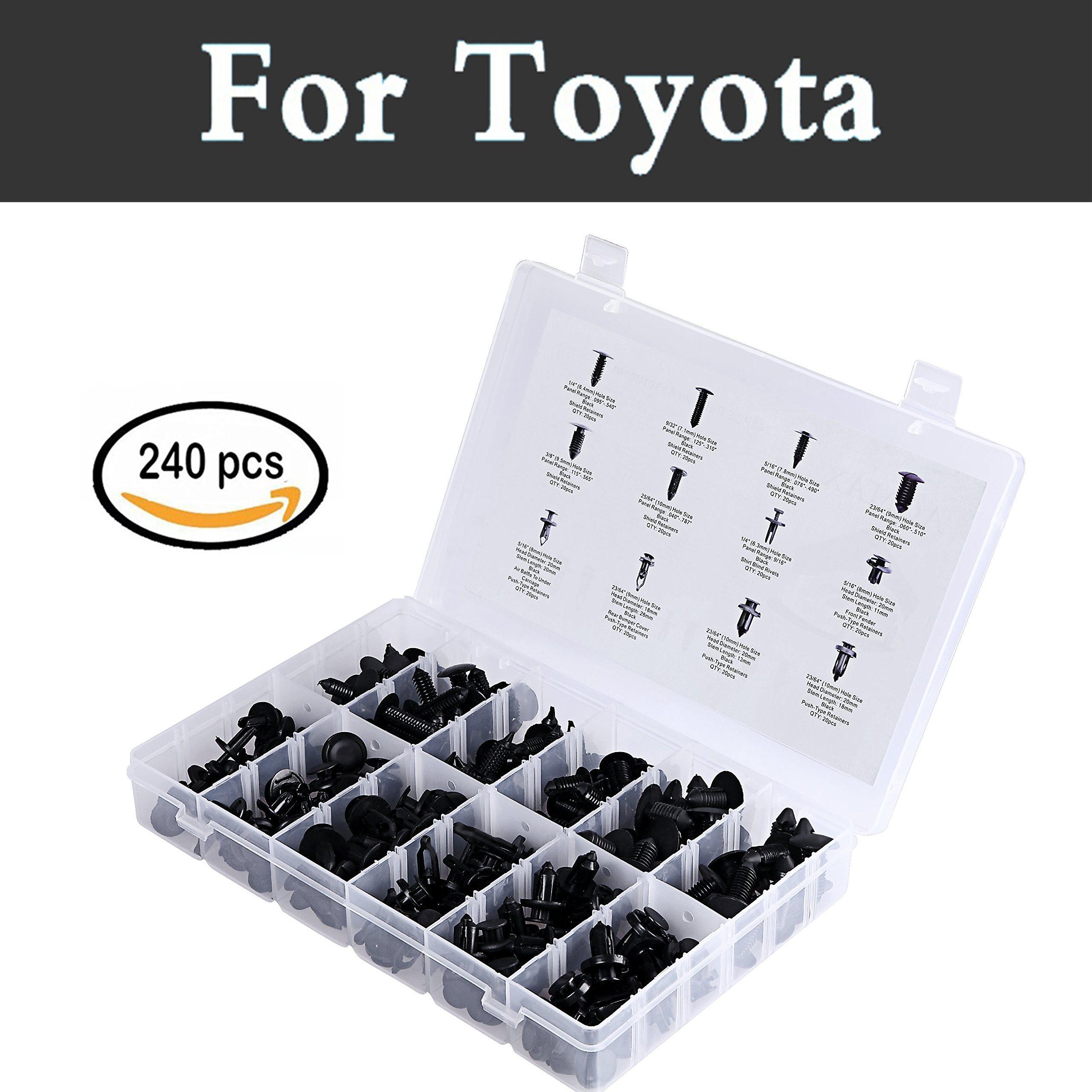 240 Uds. Extractor de surtido de sujetadores de presión remaches negros para Toyota Vios Vitz Will Cypha Windom Yaris Highlander Auto Styling