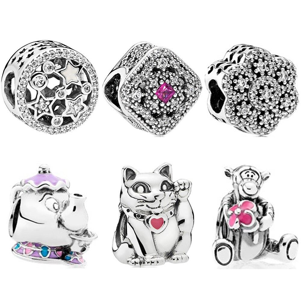 Contas de cor de prata pérola gato bule estrela bandeira nacional pingente encantos caber pandora diy pulseiras pulseiras colar jóias