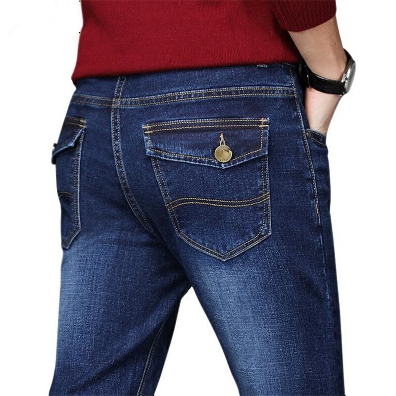Plus size 44 46 48 50 mannen jeans broek goede kwaliteit straight stretch jeans mannen designer mens, toevallige Slanke Zwarte Rechte Broek