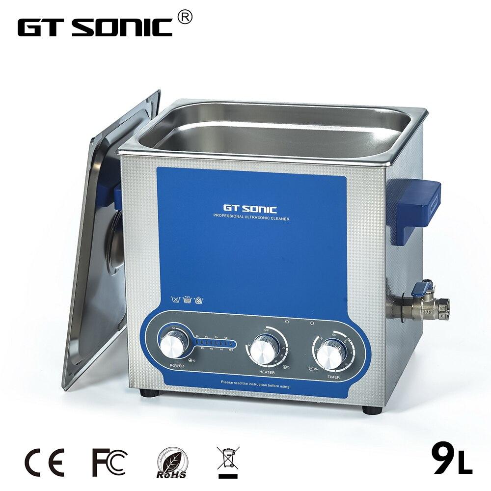 Limpiador ultrasónico GTSONIC baño 9L potencia ajustable 60 W-200 W temporizador calentado máquina de limpieza ultrasónica de acero inoxidable