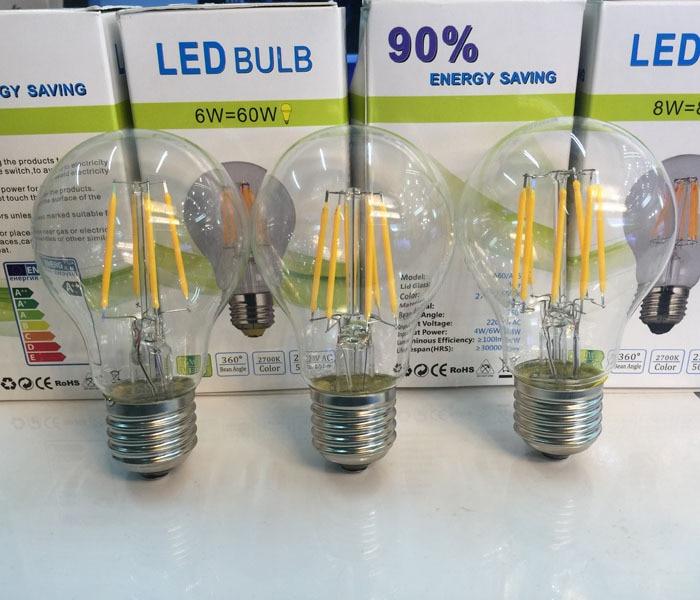 1 Uds bombilla LED Edison luz LED interior de vidrio transparente AC 220 V-240 V E27 A60 CE W 2W 4W 6W 8W bombilla de filamento LED