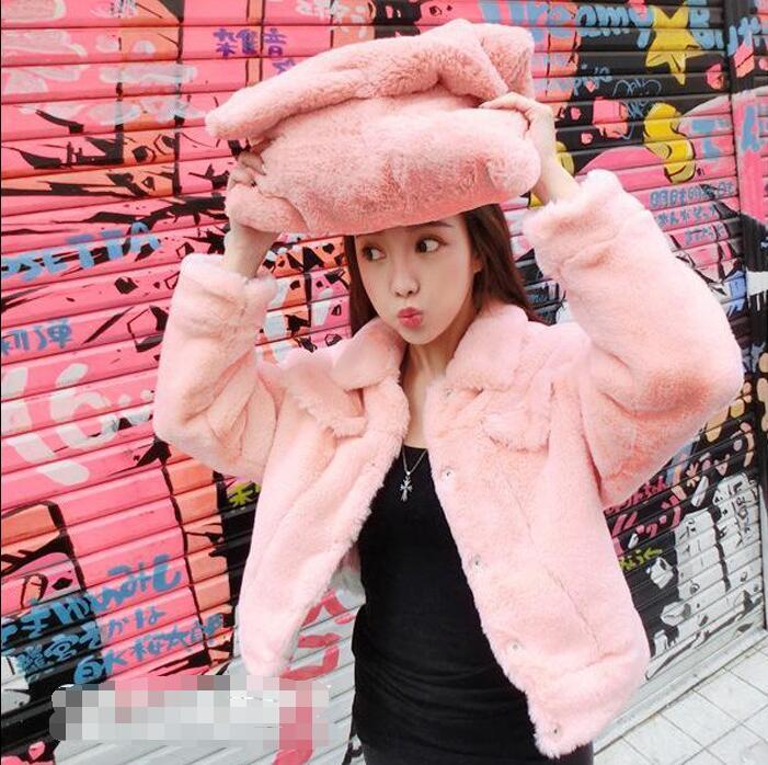 2018 versión coreana de otoño e invierno pelo de cordero femenino rosa/azul Piel de doble cara Chaqueta corta piel sintética