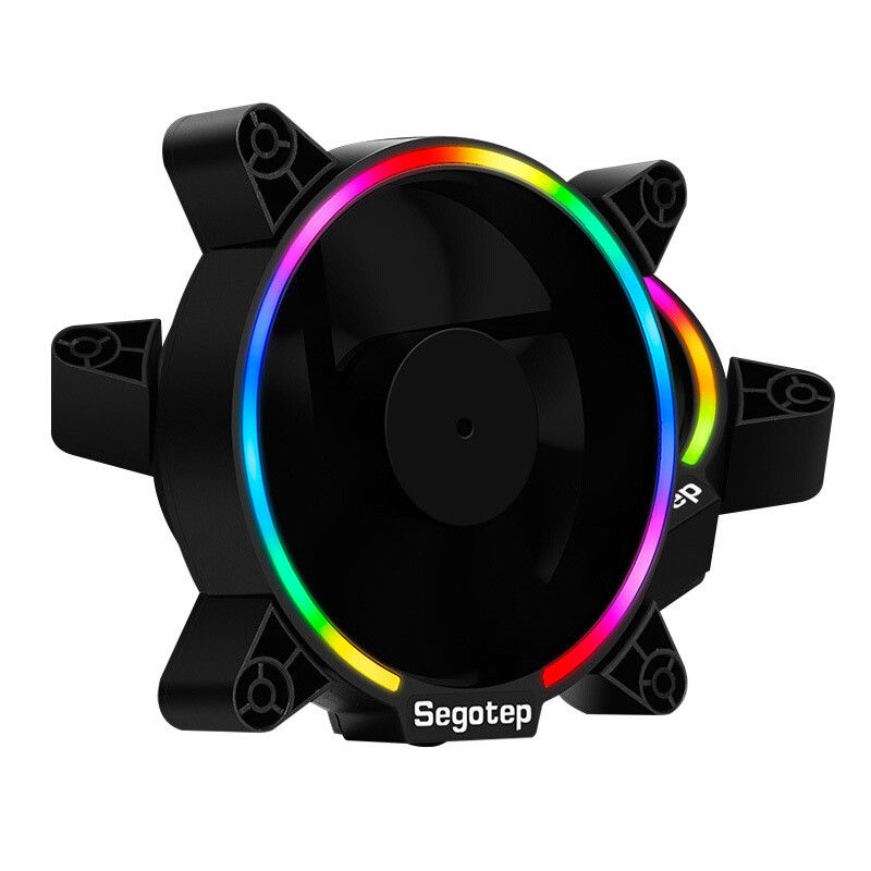 2pcs Segotep Computer PC Case Fan RGB Light 12cm Ultra Silent Cooling Fans Cooler 120mm Quite 120x120x25mm Desktop 3/4pin