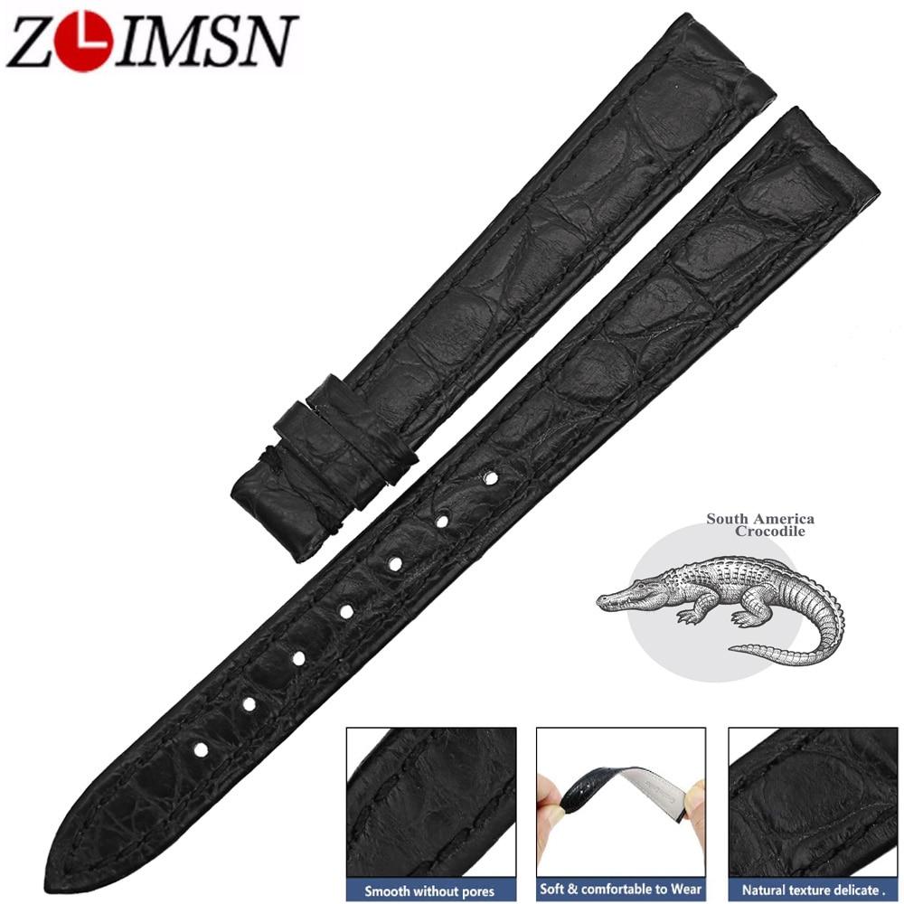 Браслет ZLIMSN из натуральной кожи аллигатора аксессуары ремешок для часов из черной крокодиловой кожи 12 мм-24 мм браслет для Омега