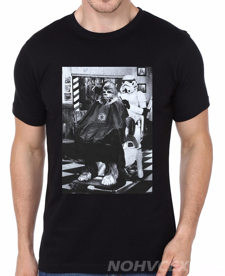 Men Women T shirt Star Wars Stormtrooper Chewbacca Barber Shop Photo tshirt Fashion Design Print Men Cotton Tee