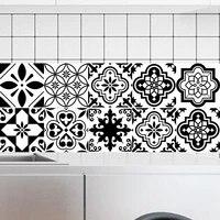 Autocollants pour carrelage impermeable  20x100cm  papier peint adhesif en PVC noir et blanc  pour cuisine  salle de bains et toilettes