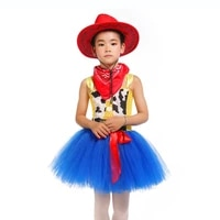 casual cartoon character sherif woody cosplay tutu dress for girls kids fluffy knee length movie cowboy dress costumes with hat