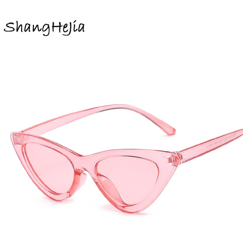cute sexy retro cat eye sunglasses women small Black Transparent pink Triangle vintage cheap sun gla