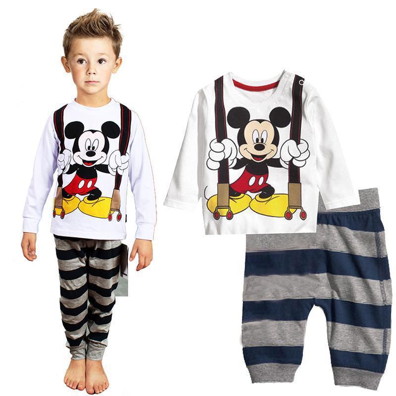 Conjunto de pijama para niños pequeños, juego de ropa de pijama para niños, ropa de dormir para niñas con dibujos animados de Mickey, conjunto de 2 uds de manga larga y pantalón para niños