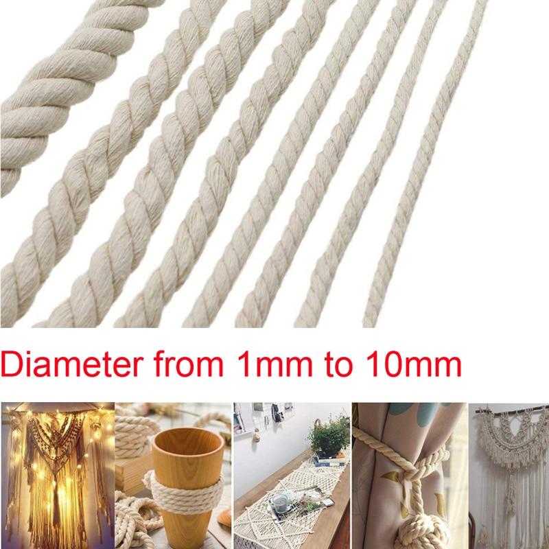 Плетеный шнурок из хлопка диаметром 1/2/3/4/5/6/8/10 мм, шнур ручной работы для рукоделия