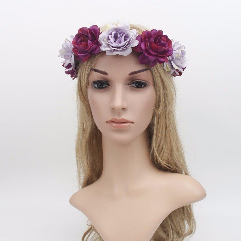 1 pc Verão Boemia Moda Feminina Coroa Coroa de Casamento Big Flor Headband Hairband Guirlandas Florais Acessórios Para o Cabelo