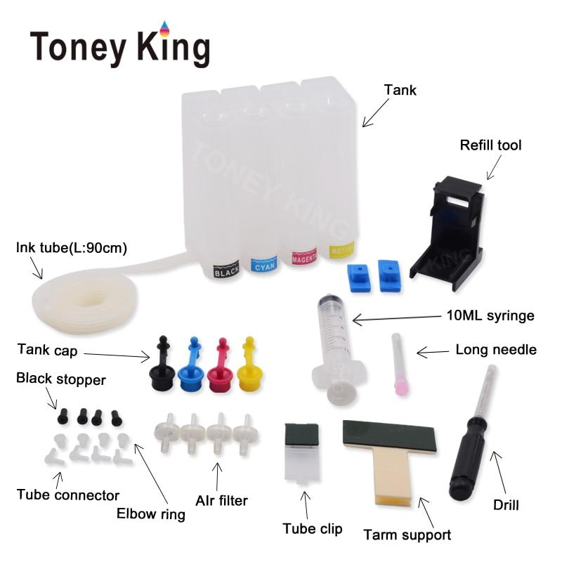 Toney king 4 cores diy ciss sistema de tinta para hp 304 xl cartucho deskjet 3700 3720 3730 envy 5030 5032 impressora tanque contínuo