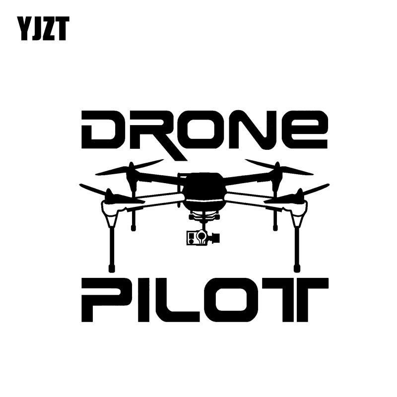 "YJZT 15,5 CM * 13,3 CM ""DRONE PILOT"" pegatina de vinilo para coche UAV Drone negro/plata C3-0194"