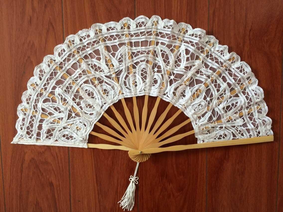 Ventilador plegable de encaje de hueso de bambú, accesorios de mano para...