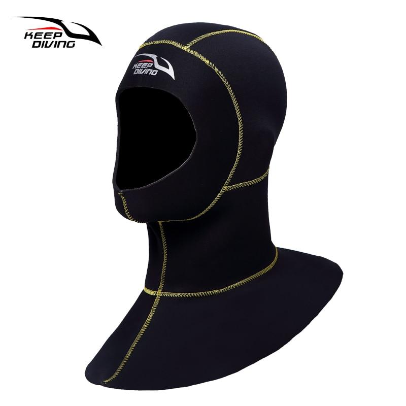 Sigue buceando 3mm neopreno buceo capucha con hombro Snorkeling sombrero de equipo gorra invierno natación traje de buceo caliente pesca submarina