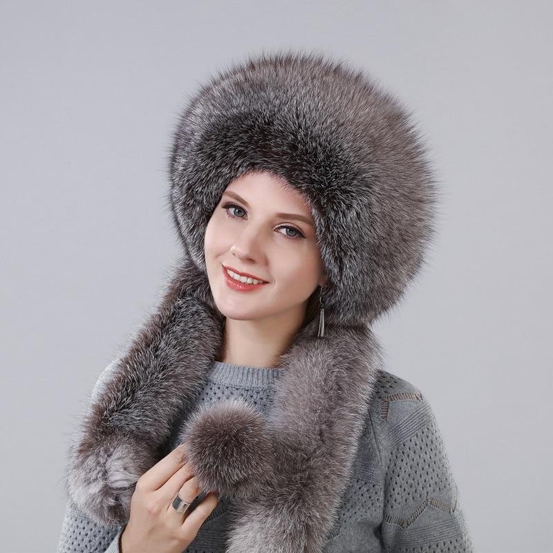 المرأة الشتاء قبعة مع ريال الطبيعية فوكس الفراء المحيطي طول إضافي يمكن استخدامها بمثابة وشاح مع شنقا سلسلة في الجزء الخلفي قبعات