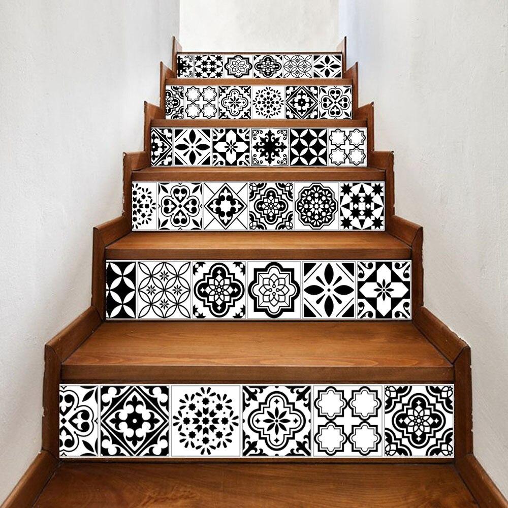 Azulejo de mosaico de pared escalera pegatinas cáscara y el palo alicatados escalera vertical calcomanías impermeable bricolaje decoración escalera etiqueta
