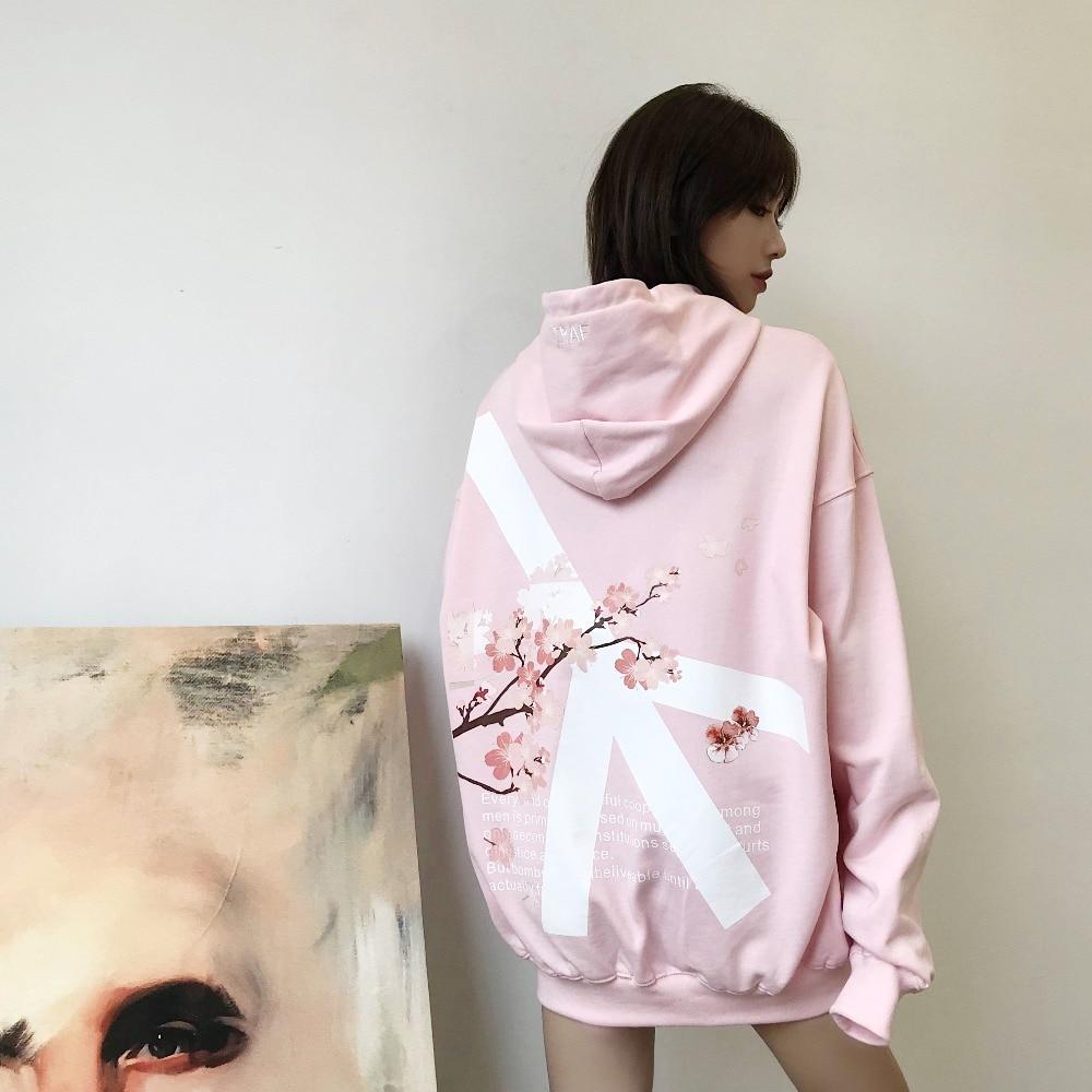 Autumnwinter 2018 couples hoodies flower anti-war pullovers sakura men and women long-sleeved baggy hip-hop hoodies