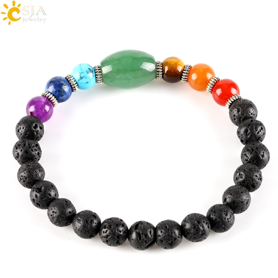 CSJA Hot Big Size Green Aventurine Healing 7 Chakra Gem Stone Black Lava Strand Bracelet for Male Female Gift Jewellery E279