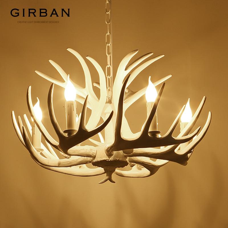 Marca Girban, candelabro con forma de asta de vela, lámparas Retro de resina con cuerno de venado, decoración blanca para el hogar, iluminación E14