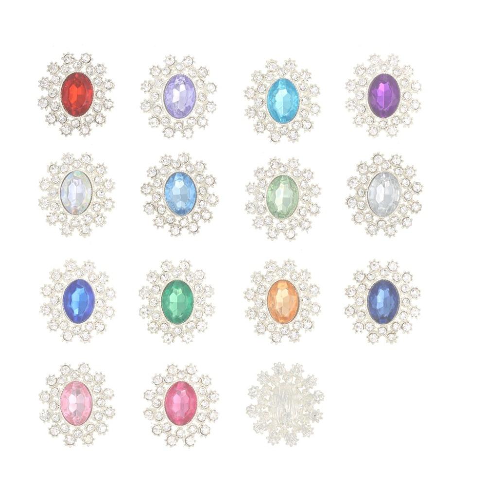 28mm Oval acrílico aleación de metal con diamante de imitación botones plana abrigo Boutons para Tarjeta De Invitación De Boda pelo bricolaje Botoes
