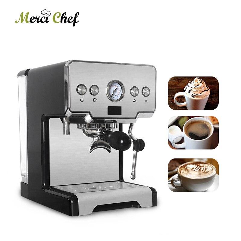 Máquina de café expreso semiautomática ITOP, 15 bar, Cappuccino Latte, cafetera de espuma de leche, 220V para cafetería