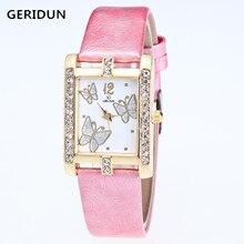 GERIDUN New listing Watch Women Watches Fashion Rhinestone Quartz Female Clock Crystal PU Leather Relogio Feminino Reloj Mujer