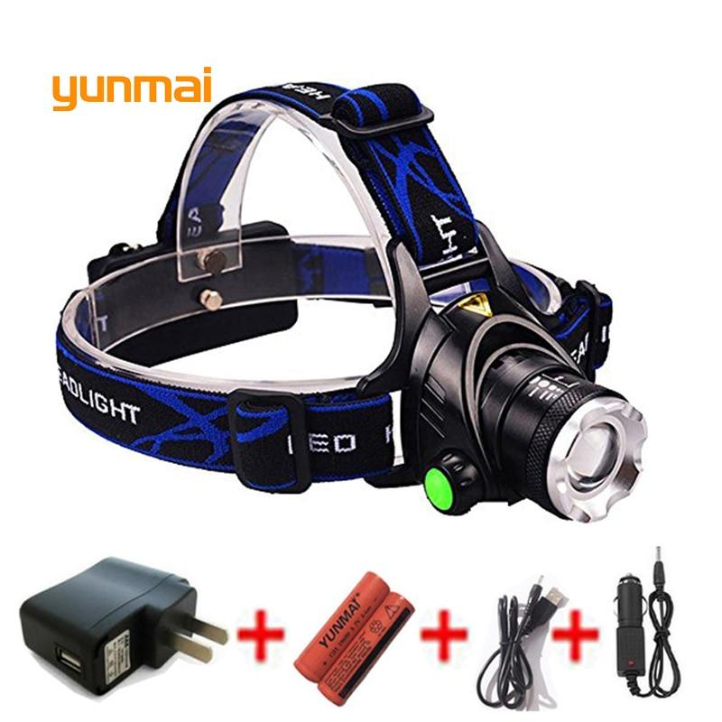 Yunmai alta potencia 5000 lm Led faro impermeable nuevo xm l2 u2 faro USB linterna para cabeza para senderismo Camping