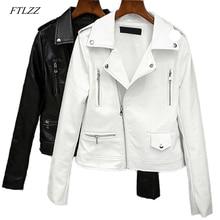 FTLZZ 2020 New Spring Autumn Women Biker Leather Jacket Soft Pu Punk Outwear Casual Motor Faux Leather Black White Jacket