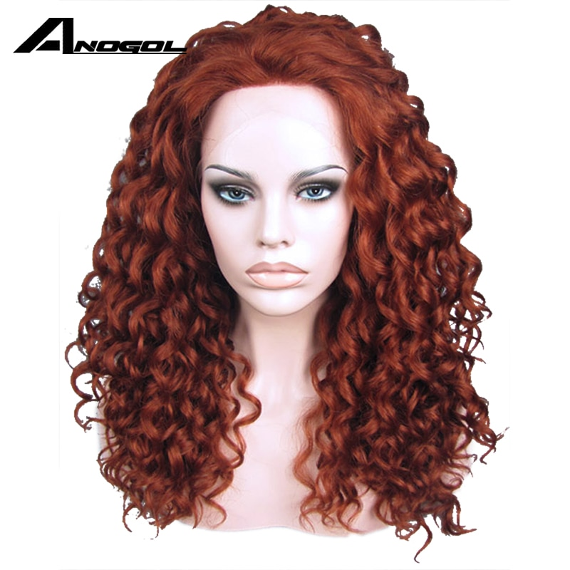 Anogol Hand Tied High Temperature Fiber Hair Wigs Long Kinky Curly Auburn Copper Red Synthetic  Lace Front Wig With Free Part