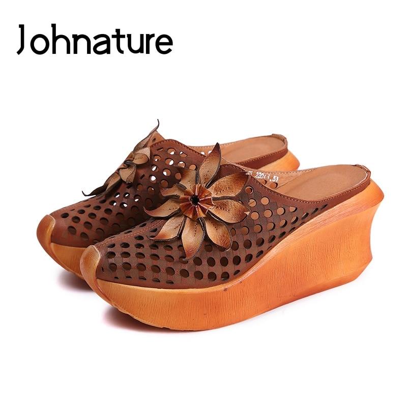 Johnature Genuine Leather Floral High Heels Summer Outside Platform Slippers Wedges National Style Slides Women Shoes Sandals