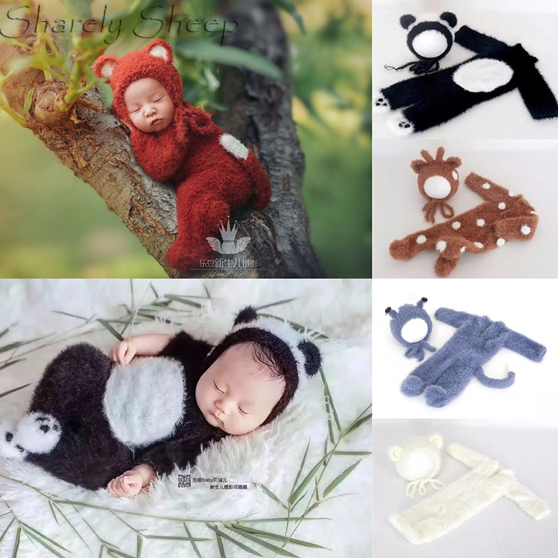 Handmade Newborn Onesie Sitter Photography Props Cartoon Animal Rompers Baby Boy Photo Shoot Posing Bear Hat+Footed Overall bebe