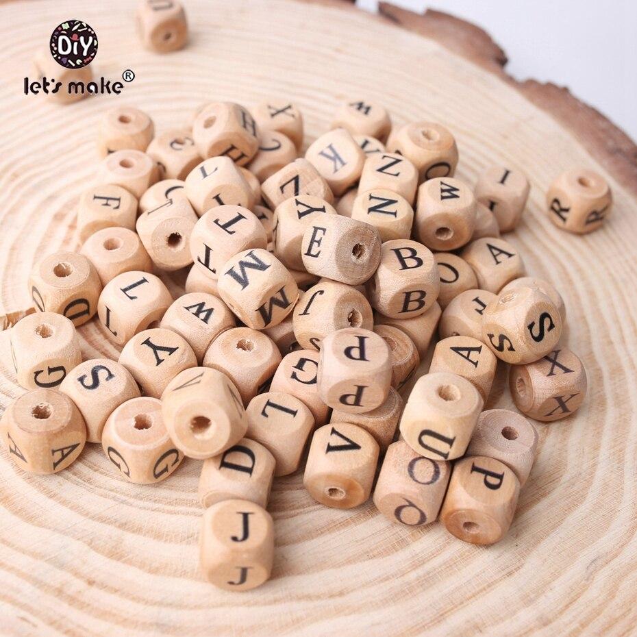 Juguete de Cuentas de letras de madera de haya de 12mm con forma cuadrada de 200 Uds. Al por mayor, joyería DIY para dentición, mordedor de cuentas para bebé