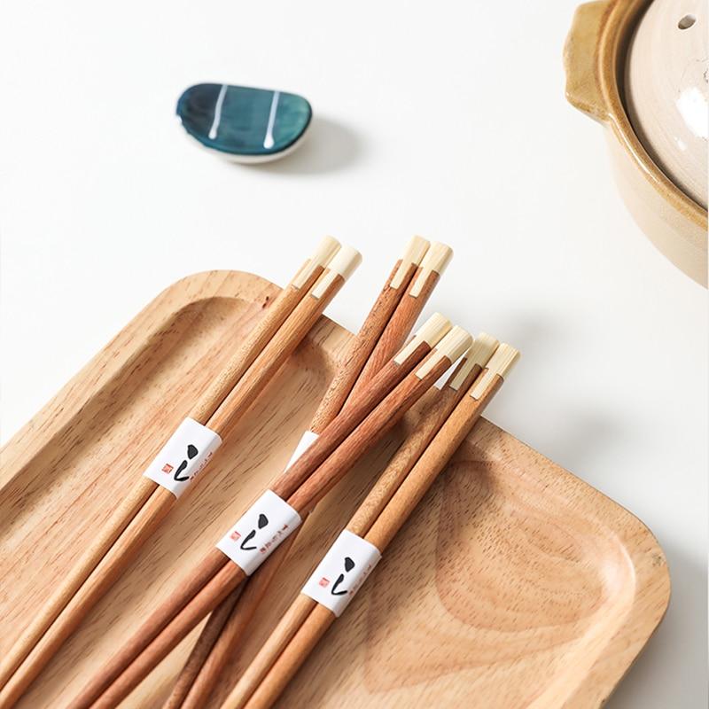 Palillo de madera hecho a mano + palillo de bambú palillo japonés para niños palitos de sushi regalo chino reutilizable para alimentos