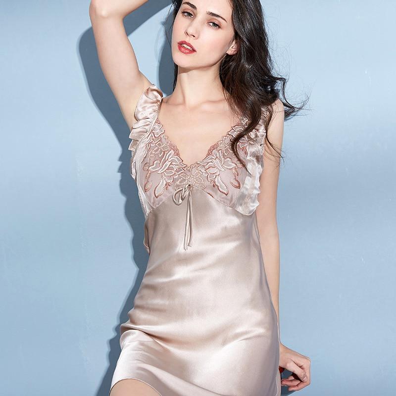 قمصان نوم من الحرير الخالص للنساء ، بروتيل ، ملابس نوم ، ملابس نوم ، ملابس ترفيهية ، 100%
