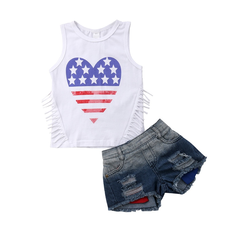 Toddler Girl Clothes Set Girls 2019 Summer Outfits Kids Fashion Children Tassels Sleeveless Top + Denim Shorts 18M to 9 Years