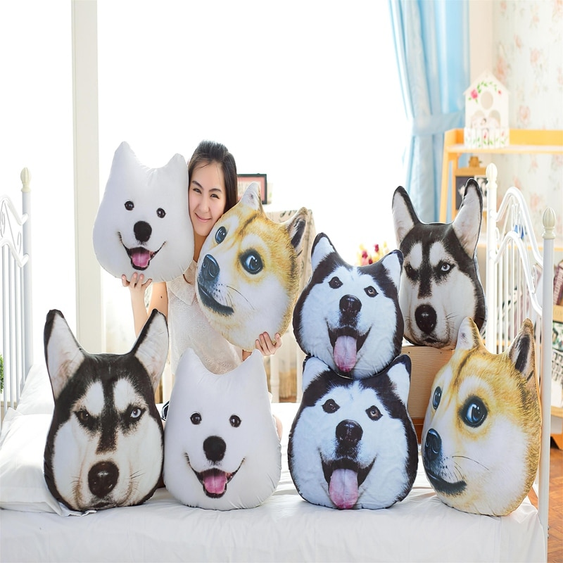 Nuevo caliente 3D Samoyed Husky perro juguetes de peluche muñecas peluche Animal almohada sofá coche decorativo creativo cumpleaños regalos de navidad