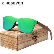 KINGSEVEN Mens Sunglasses Polarized Walnut Wood Mirror Lens Sun Glasses Women Brand Design Colorful