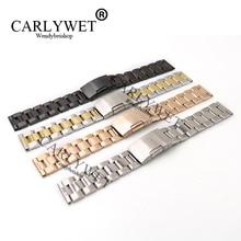 CARLYWET 14 16 18 19 20 21 22 23mm Bracelet de montre Bracelet ceinture avec fermoir simple pression pour Rolex Omega Tudor Breitling