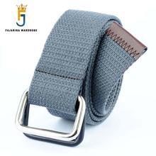 FAJARINA Wholesale Sale Price Many Colours Optional Unisex Double Ring Soft Canvas Strap Belts for Students Jean Belt CBFJ0009