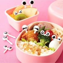 10pcs/set Mini Eye Cartoon Fruit Fork PP Plastic Fruit Toothpick Bento Lunch For Children Decorative Tableware