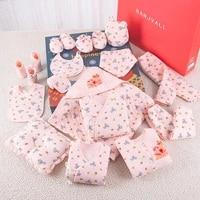 2021 winter print newborn baby girl clothes cotton cartoon newborn set for baby boys 19 pcsset