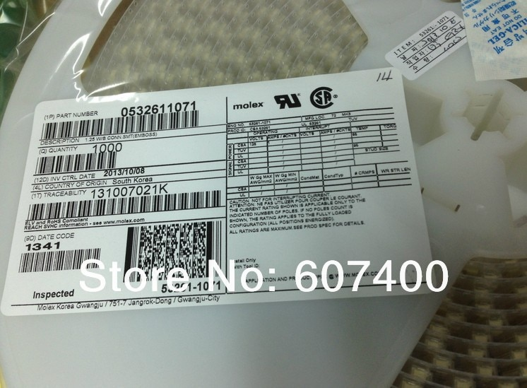 0532611071 1.25 موصلات SMT 53261-1071 MOLEX موصلات محطات الإسكان 100% جديد و الأصلي أجزاء 532611071