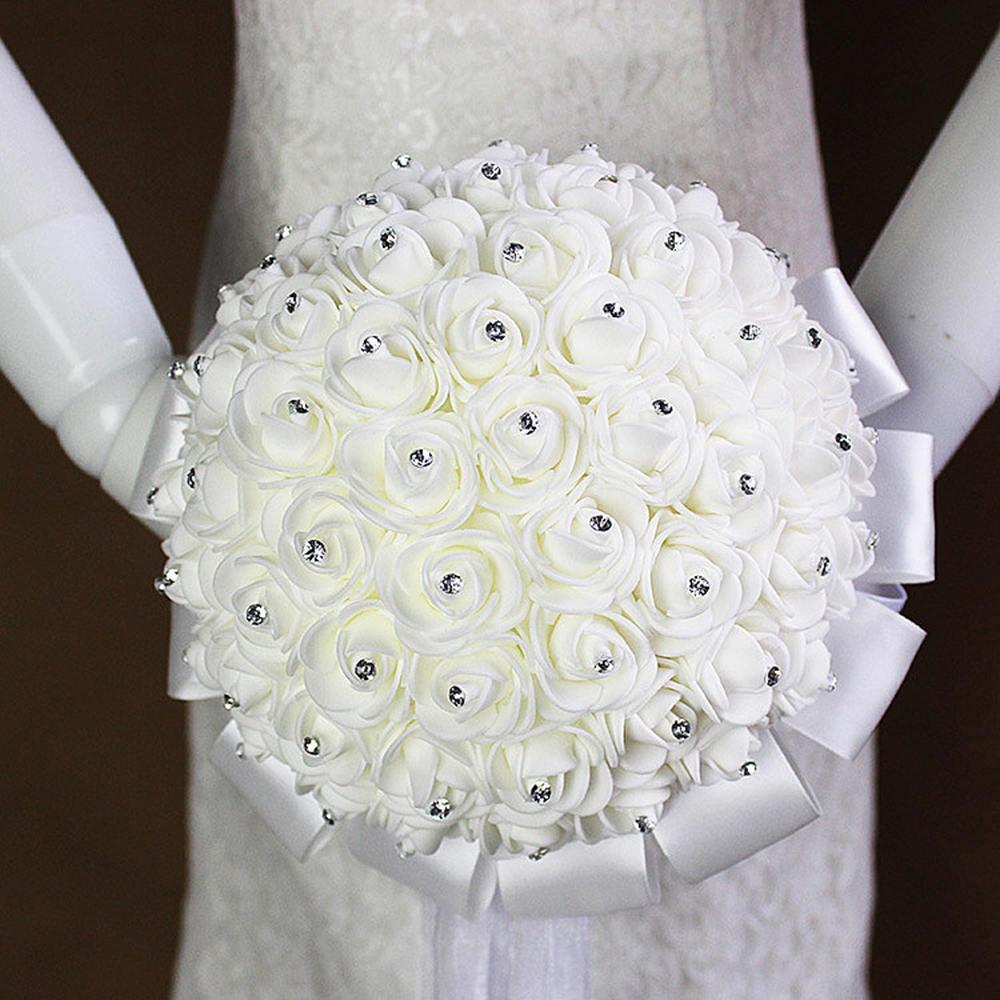 Umjetni vjenčani buketi s ručno izrađenim cvijetom ruže od - Vjenčanje pribor - Foto 2