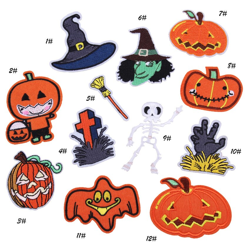 Halloween Pumpkin Embroidery Patches for T-shirt Iron on Skull Stripes Witch Appliques Clothes Stickers Ghost Clothing Badges