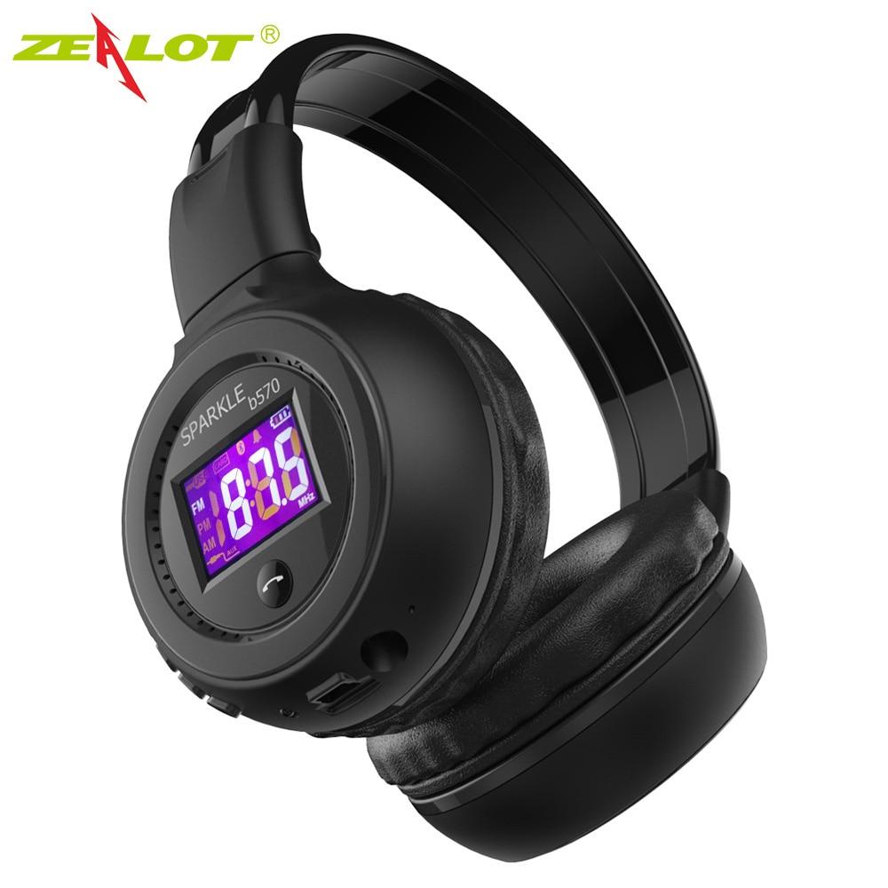 ZEALOT B570 auriculares Bluetooth plegables estéreo HIFI auriculares inalámbricos con pantalla LCD auriculares FM Radio ranura micro-sd