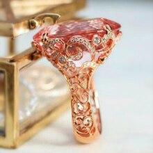 Huitan romantique vintage Solitaire Rose pierre or Rose couleur bague de fiançailles milieu du siècle luxe graver motif gros bijou
