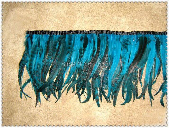 ¡2 metros/lote! ¡35 cm de altura! calidad Grizzly iridiscente turquesa/azul cielo COQUE cola pluma borde, freeshipping