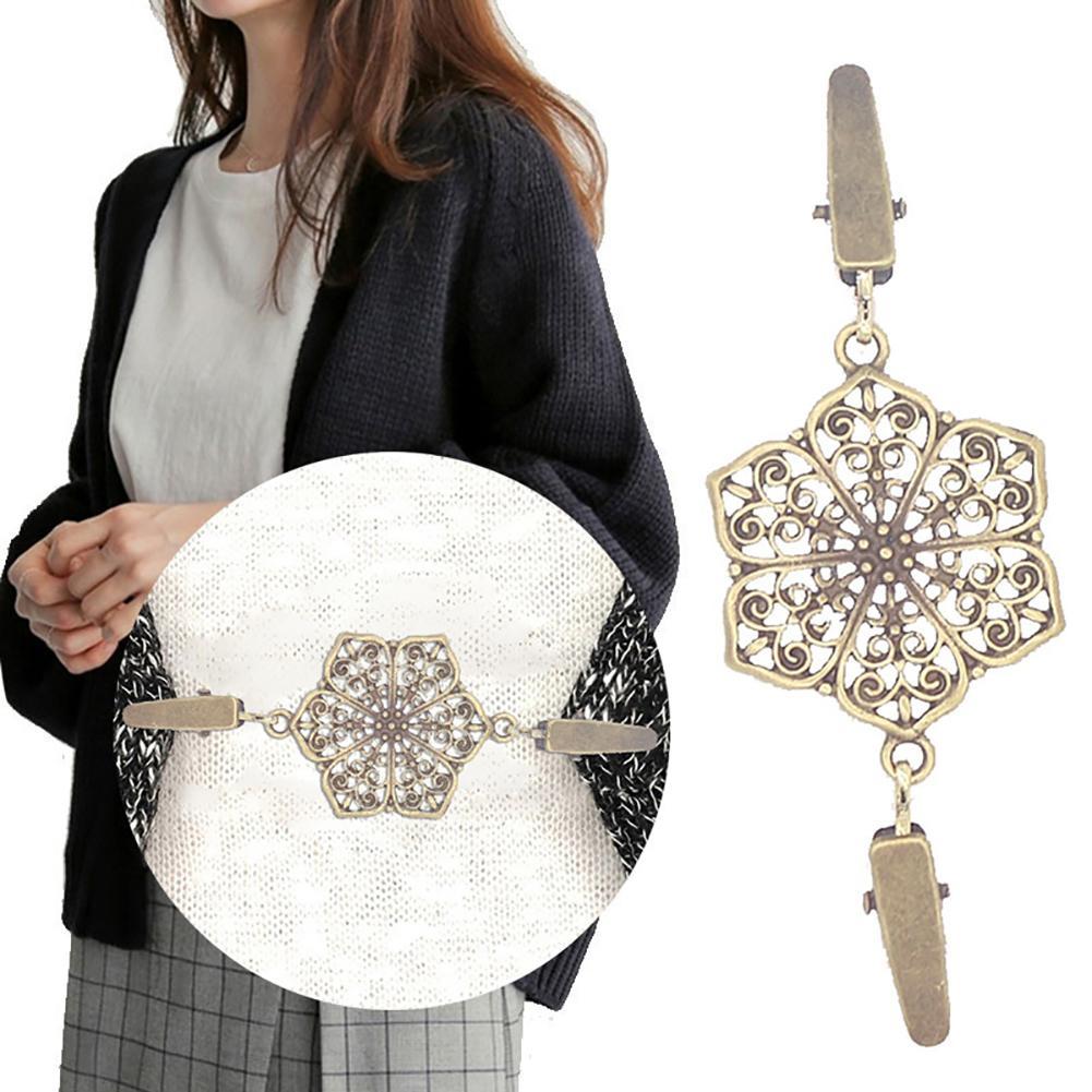 Vintage flor hueca mujeres de doble extremo abrazadera suéter camisa Collar Cardigan Clip accesorios mujeres broche joyería metal pins caliente